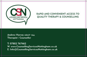 Counselling services Nottingham new business card